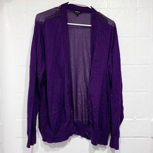 Torrid button front cardigan purple